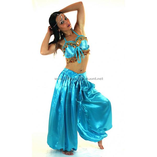 Costume de danse orientale top sarouel satine turquoise