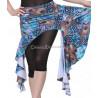 Ceinture de danse orientale jupette motifs plumes de paon bleu