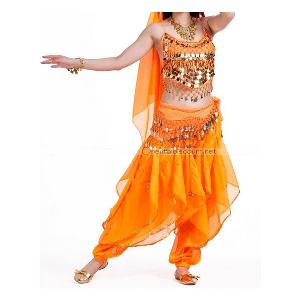 Costume de danse orientale top sarouel orange