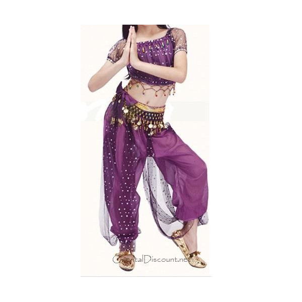 Costume de danse orientale top sarouel enfant à paillettes violet