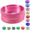 Lot de 12 bracelets bangles indiens striés couleur unie