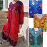 Robe de maison femme imprimé fleurs et encolure au cordon