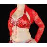 Boléro de danse orientale dentelle rouge