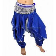 Sarouel de danse orientale bleu argent