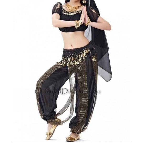 Costume de danse orientale top pantalon noir