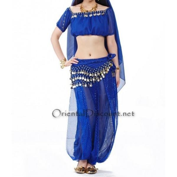 Costume de danse orientale top sarouel bleu